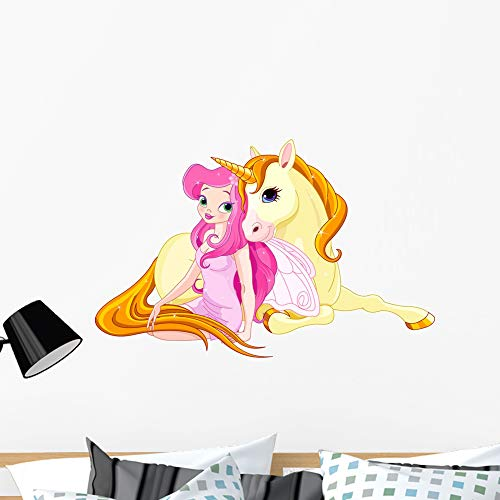 Royalty Free Photographs Flowers - Wallmonkeys Fairy and Unicorn Wall Mural Peel and Stick Vinyl Graphic (36 in W x 30 in H) WM525438