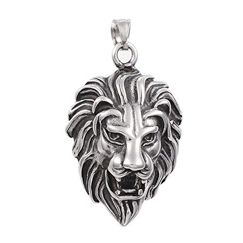PH PandaHall 6pcs 6mm Stainless Steel Lion Pendants Animal Lion Head Charms Antique Silver Pendants Charms for DIY Crafts Jewelry Making ()