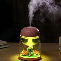 USB Humidifier, 7 Colour Changing USB Humidifier Diffuser Portable Air Purifier Vaporizer Aroma Mist Maker Cute Microlandschaft Desktop Night Light, Pink/180ML