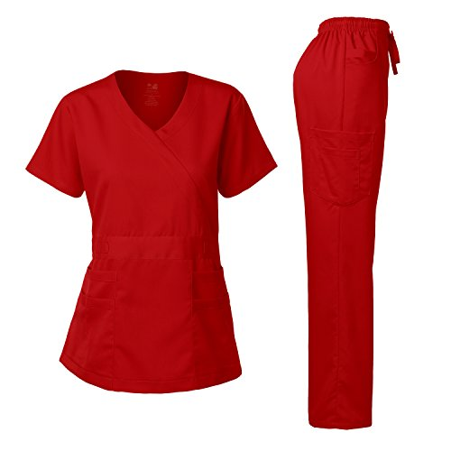 Dagacci Medical Uniform Women's Scrub Set Stretch and Soft Y-Neck Top and Pants, Red, S by Dagacci Medical Uniform (Image #6)