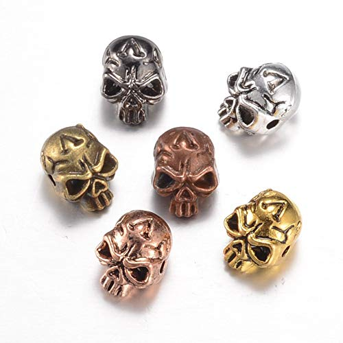 Beadthoven 100pcs Mutlied Color Alloy Skull Beads Connector Men's Bracelet Spacer Beads Charms Jewelry Making Supplies]()