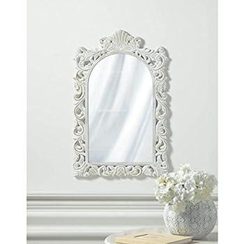 Grand Distressed White Wall Mirror