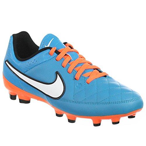 Nike Jr. Tiempo Genio Leather FG Soccer Cleat (Neo Turquoise, Hyper Crimson) (Nike Jr Tiempo Genio Leather)