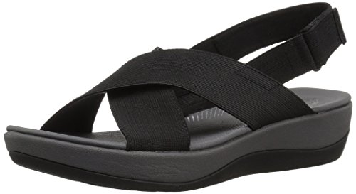 CLARKS Women's Arla Kaydin Sandal, Black Elastic Fabric, 7 Medium US (Fashion Sandals Women Wholesale)