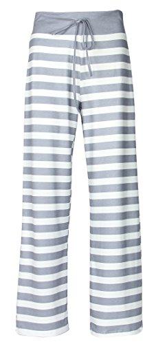 Roselux Women's Stretch Comfy High Waist Drawstring Wide Leg Polka Striped Pajama Pants Lounge (Gray,XL)