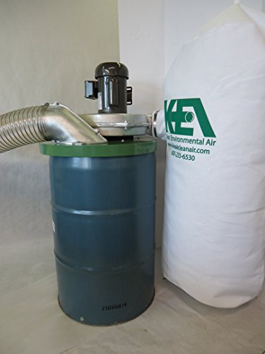 Dust Collection Cyclonic (Drum Mounted Dust Collector Model # 2030-3 for Dust Collection: Includes Three Horsepower (three phase) motor and premium filter dust bag rated at 1400 CFM)