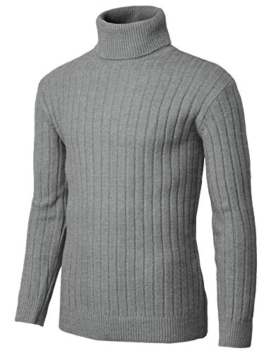 H2H Mens Slim Fit Turtleneck Pullover Wool Sweaters Basic Ribbed Thermal Gray US M/Asia M (KMOSWL251) ()
