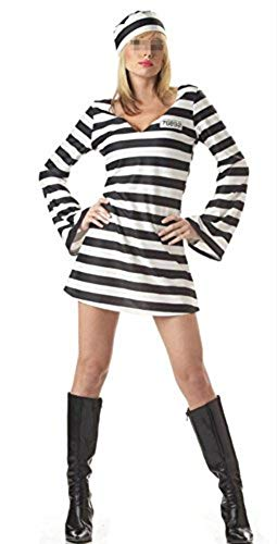 NewDong Adult Striped Prisoner Costume Black White Long Sleeved Uniform Cosplay for Womens, Style2, X-Large -