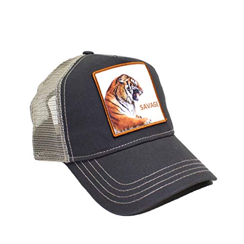 Kenny K. Men's Funny Trucker Hat Animal Farm Patch Baseball Cap, Savage Tiger Charcoal
