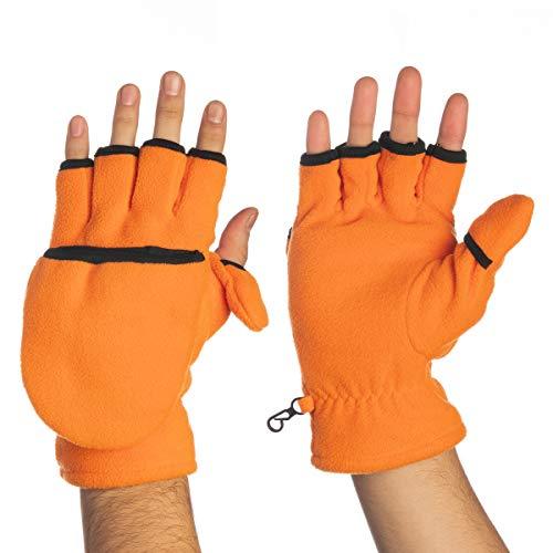 (John Bartlett Statements 3-M Thinsulate Men's Fingerless Flip Top Convertible Gloves Mittens Flap Cover Winter Cold Weather)