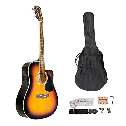 Colour Sunburst Electric Guitar (PYLE-PRO PGAKT40SB 41-Inch Acoustic-Electric Guitar Package With Gig Bag, Strap, Picks, Tuner, and Strings (Sunburst Color))