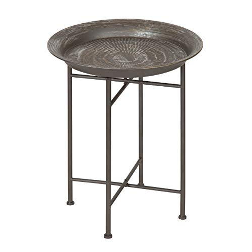 Kate and Laurel 212006 Mahdavi Round Hammered Metal Accent Table, 16.5 Diameter, Pewter
