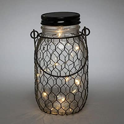 """The Gerson Company 93241 6.9"""" H Battery Operated Clear Mason Jar 6.9''H Battery Operated Clear Glass Mason Jar with Black Wire Net & 10 Warm White Micro LED Lights"""