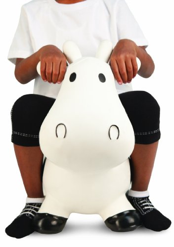 Trumpette Howdy Cow Kids Inflatable Bouncy Rubber Hopper Ride-On Toy White by Trumpette (Image #3)