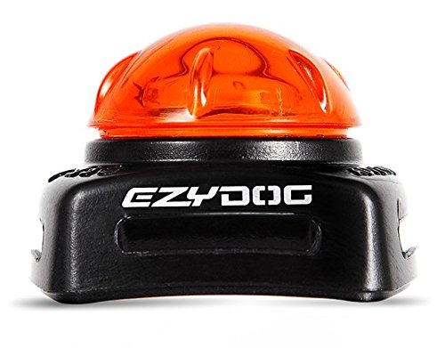 EzyDog Micro Adventure Lights for Dog Collars, Harnesses, and Leashes - Visible up to 1640 Feet and Waterproof up to 30 Ft - Includes a Light, Lithium battery and Velcro Strap - Very Durable (Orange)