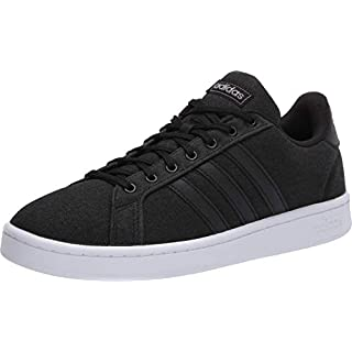 adidas mens Grand Court Sneaker, Core Black/Core Black/Grey, 11 US