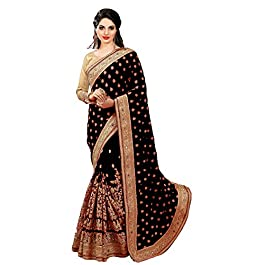 SARVADARSHI FASHION Women's Brocade Silk Saree With Un-stitched Blouse