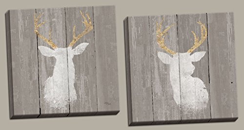 (Rustic Contemporary Deer and Buck Silhouettes by Wellington Studios; Lodge Decor; Two 16x16in Hand-Stretched Canvases)
