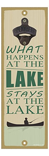 Stays at The Lake 5 x 15 Bottle Opener Plaque Sign What Happens at The Lake SJT ENTERPRISES INC SJT07427 Boat /& Fishing Image