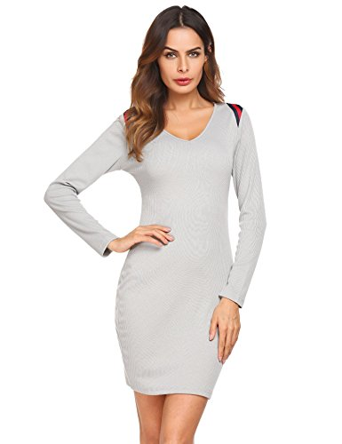 Casual Femmes Meaneor Sexy Gris V Dress Slim Bodycon Patchwork Hip Paquet Manches Longues Neck 5fqRxadq