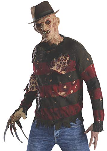 (Rubie's Men's Nightmare On Elm St Adult Costume Sweater with Burning Latex Flesh, Multi-Color,)