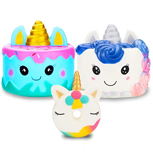 R.HORSE Cute Unicorn Cake, Narwhal Cake, Unicorn Donut Set Kawaii Cream Scented Squishies Slow Rising Decompression Squeeze Toys for Kids or Stress Relief Toy Large (3 Pack) by R.HORSE