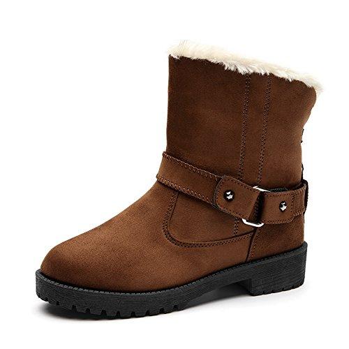 Botas de nieve de algodón de gran tamaño europeo y americano de invierno zapatos de moda popular, Brown, 39 39|brown
