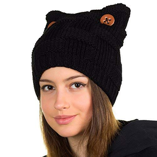 Hats&Cats Black cat Ears hat-Winter Pussy cat hat-Winter Handmade Cat Beanie Lined with Fleece (Black)