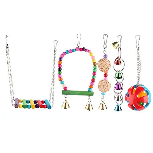 HEEPDD 5PCS Parrot Chewing Swing Toys, Pet Birds Standing Perch with Colorful Wooden Beads Hanging Pecking Sepaktakraw Bells String for Small and Medium-Sized Parrot Parakeets Conures Macaws