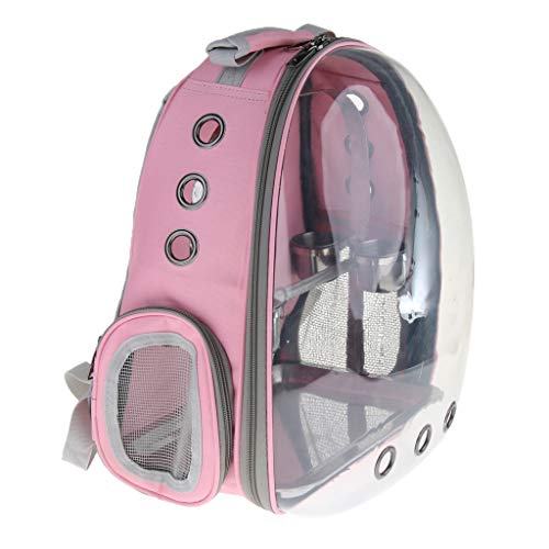 - Baosity Pet Parrot Bird Carrier Backpack with Stainless Steel Perch Stand & Feeder - Pink