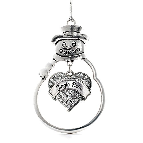 2.5 Inch Snowman Bell Ornament - Inspired Silver - Jingle Bells Charm Ornament - Silver Pave Heart Charm Snowman Ornament with Cubic Zirconia Jewelry