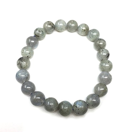 Natural Light Grey Labradorite Gemstone Bracelet 7.5 inch Stretchy Chakra Gems Stones Healing Crystal Great Gifts (Unisex) ()