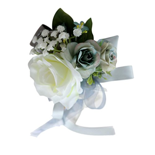 SM SunniMix Novelty Wedding Car Decorations Prop Simulation Silk Flower with Ribbon Car Mirror Handle DIY Decor - Silver Gray 1, 32 x 12 x 10cm -