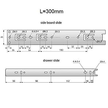 L FURNICA 2x Gu/ía para caj/ón ranurado H45mm 250mm