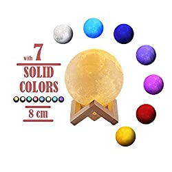 Newest Night Light CoolKo 8cm 3D Printed Lunar Moon Lamp, Rechargeable Home Decor White, Yellow & 7 Color Changing Mode, Dimmable Touch Control Brightness with Wooden Stand and Charging Cable