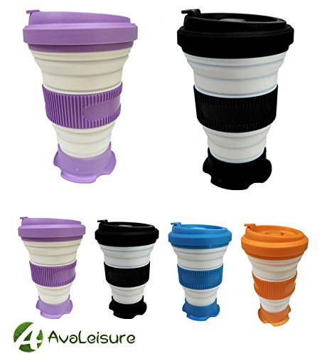 AVALEISURE COLLAPSIBLE CUP- the Versatile 16oz Foldable Mug with Lid for Drinking Coffee, Water, Tea & Wine - Camping, Travel, Outdoor, Picnic & RV (black.purple)