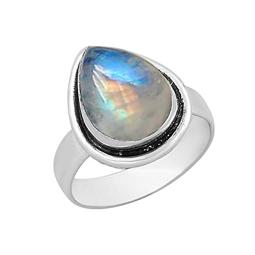 (Genuine Pear Shape Rainbow Moonstone Solitaire Ring Silver Plated Vintage Style Handmade for Women Girls (Size-7.5))