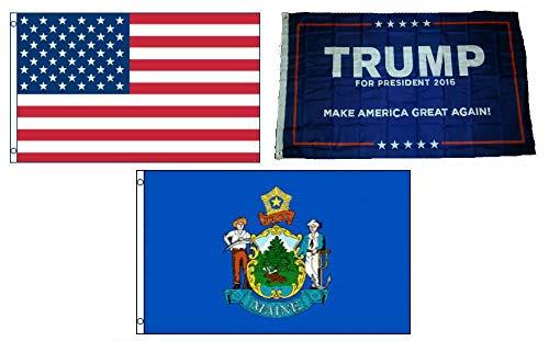 (ALBATROS 3 ft x 5 ft Trump #1 with USA American with State of Maine Set Flag for Home and Parades, Official Party, All Weather Indoors Outdoors)