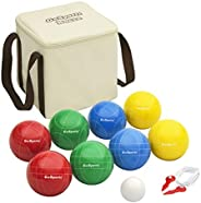 GoSports Backyard Bocce Sets with 8 Balls, Pallino, Case and Measuring Rope - Choose Between Classic Resin, So
