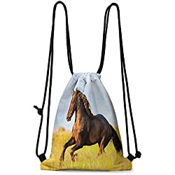 Organizer Pocket Horses,Friesian Horse with Mane Gallops in Meadow Equestrian Mystery Vitality Horse,Yellow Brown Blue W13.8 x L17 Inch Fashion bags