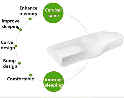 Dream Memory Foam Cervical Contour Pillow - Ergonomic Neck Pillow with Orthopedic Design for Neck Support and Pain Relief - Bed Sleeping Pillow with Washable Pillowcase - White by Dream (Image #1)