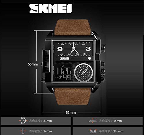 Redmei fyrkantig stor urtavla dominerande kvartsklocka, tre gångers stoppur kronograf läderrem multifunktionell sportklocka, D, 3