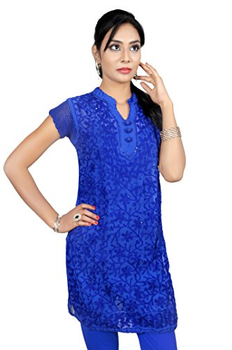 ACC Tunic Indian Chikan Kurtis for Women Party Wear Georgette Top Blouse Shirt Embroiderd 38 Blue