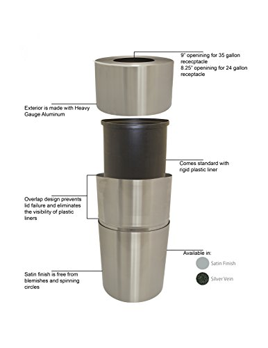 Witt Industries AL18-CLR Aluminum 24-Gallon Decorative Trash  Can with Rigid Plastic Liner, Round, 15'' Diameter x 30-1/2'' Height, Clear Coat by Witt Industries (Image #2)