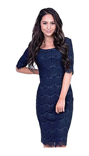 Mikarose Women's Jill Modest Short-Sleeve Lace Overlay Pencil Dress (Navy, X-Large)