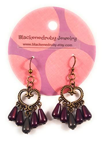 - Chandelier Fancy Heart Earrings Purple