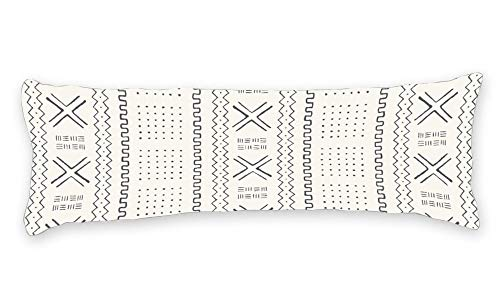 Mudcloth Print - DKISEE Decorative African Mudcloth Ivory Body Pillow Case Cover Washable Pillowcase with Double Sided Print, 20
