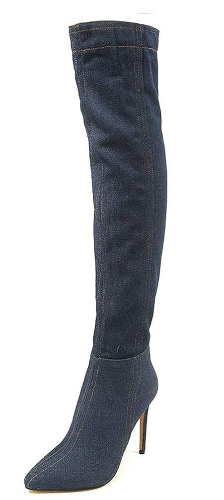 SHOWHOW Damen Jeansstoff High Top Spitz Zehen Schmaler Overknie Stiefel