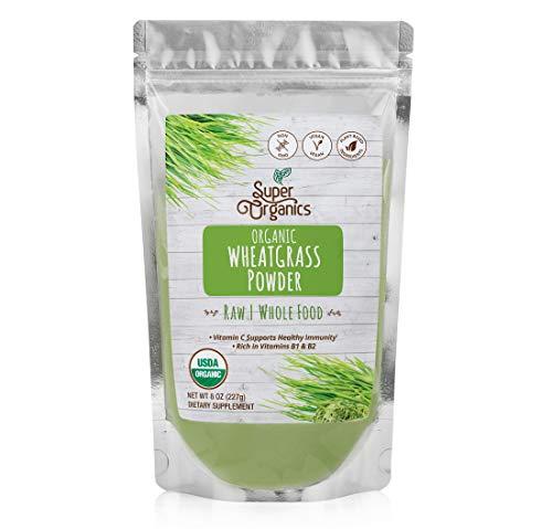 Super Organics Wheatgrass Powder | Rich in Vitamins B1 & B2 | Organic Superfood Powder | Raw Superfoods | Whole Food Supplement – Vegan & Non-GMO, 8 Ounces