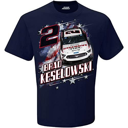 (Checkered Flag 2019 NASCAR Men's Patriotic USA 2-Spot Driver/Sponsor T-Shirt-Brad Keselowski #2-Navy-XL)